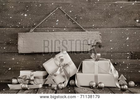Christmas Business Background With Presents For A Voucher Or Gift Token.