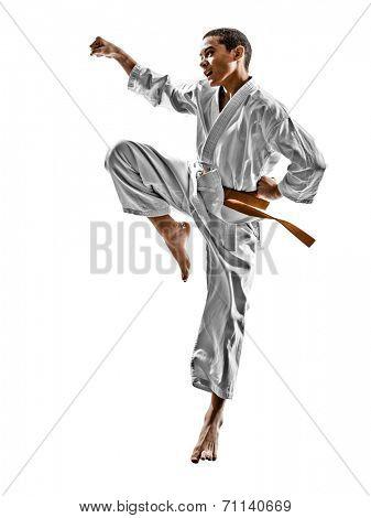 one karate kata training teenagers kid isolated on white background