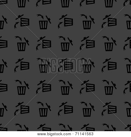 Trash bin web icon. flat design. Seamless gray pattern.