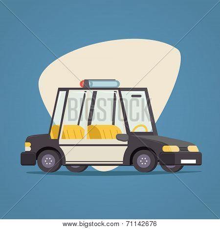 Retro Cartoon Car Police Icon Modern Design Stylish Background Vector Illustration