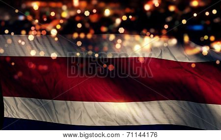 Costa Rica National Flag Light Night Bokeh Abstract Background