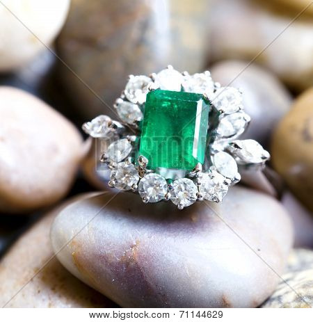 Diamond Ring With Big Emerald