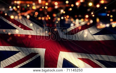 England Uk National Flag Light Night Bokeh Abstract Background