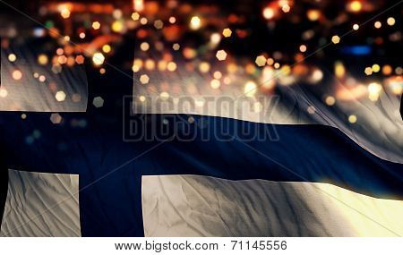 Finland National Flag Light Night Bokeh Abstract Background
