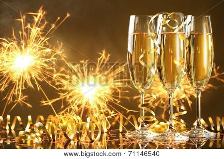 Champagne and fireworks,new year celebration.