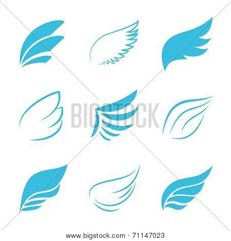 Variety Vector Blue Wings on White Background