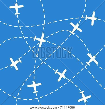 Seamless background with airplanes flying  on blue