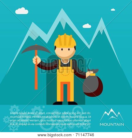 Mountain worker with pick and sack of gold