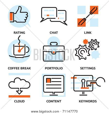 Set of SEO contour icons
