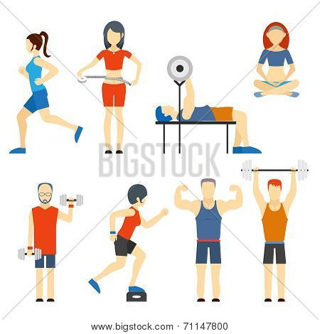 Set of people exercising at the gym