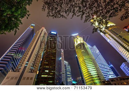 Tall Skyscrapers Of The Modern City. View From The Foot
