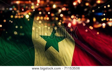 Senegal National Flag Light Night Bokeh Abstract Background