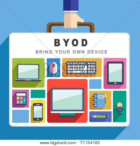 Flat Design For Bring Your Own Device Concept