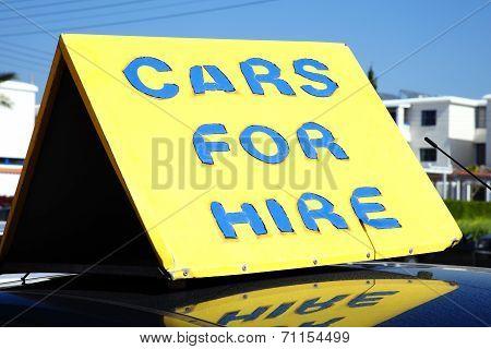 Car hire sign