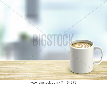Closeup Of Wooden Desk And Coffee In Room