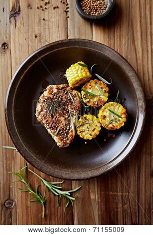 Chicken Fillet with Coriander Cumin Crust and Sweetcorn