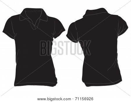 Women's Black Polo Shirt Template