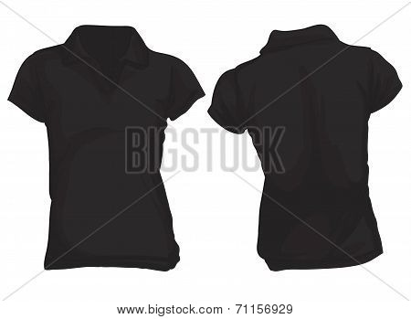 Women's Black Polo Shirt Template