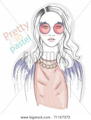 Young Girl Fashion Illustration. Pastel Fashion Trend.