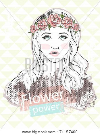 Young Girl Fashion Illustration. Pastel Fashion Trend. Girl With Flower Crown.