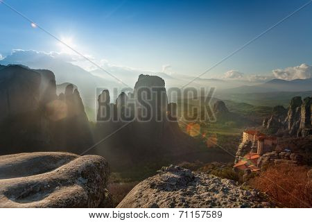 Landscape of Meteora mountains and monastery