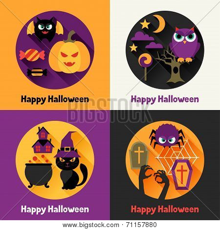 Happy halloween greeting cards in flat design style.