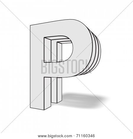 letter p isolated on white background