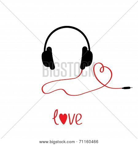 Black And Red Headphones And Cord In Shape Of Heart.  White Back