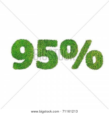 Ninety Five Percent Discount Icon. Green Grass Numerals Isolated On White