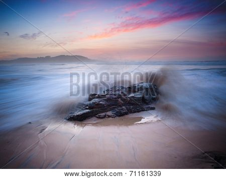 Beautiful Seascape At Sunset On A Beautiful Beach.