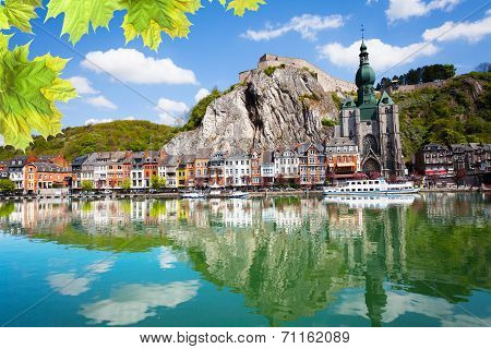 Meuse river with Collegiale Notre Dame, Belgium