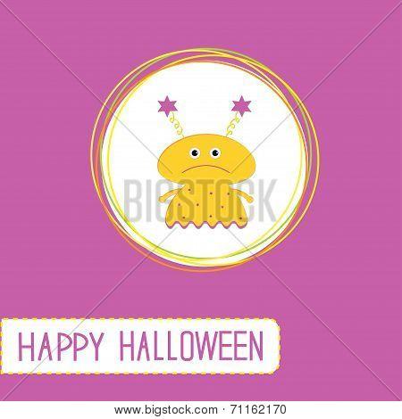 Cute Cartoon Yellow Monster Girl. Violet Background. Happy Hallo