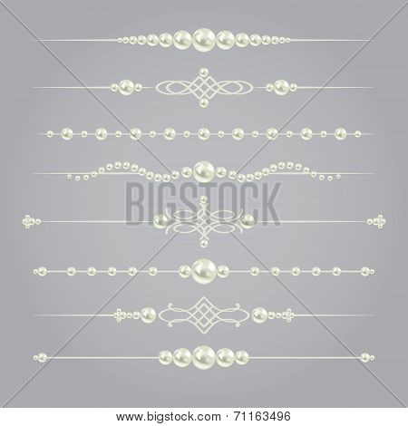 white realistic pearl dividers set collection