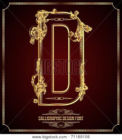 Calligraphic Design Font with Typographic Floral Elements. Premium design elements on dark background. Page Decoration. Retro Vector Gold Letter D