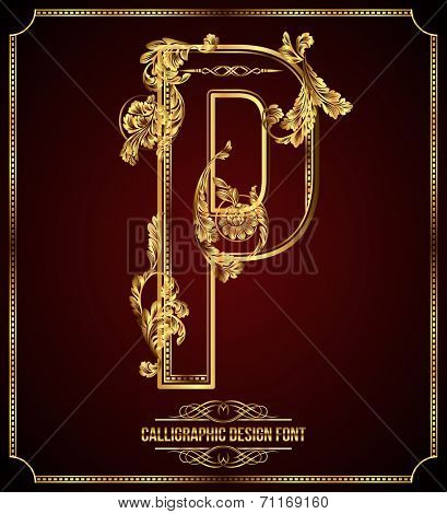 Calligraphic Design Font with Typographic Floral Elements. Premium design elements on dark background. Page Decoration. Retro Vector Gold Letter P