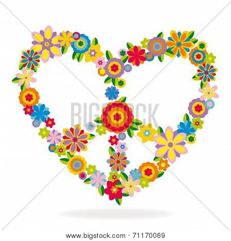 Peace Heart Sign Made Of Flowers