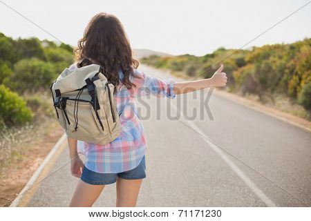Rear view of a young woman hitchhiking on countryside road