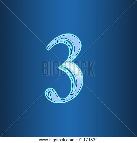 Glowing Neon Number On Blue Background. Letter 3 Three