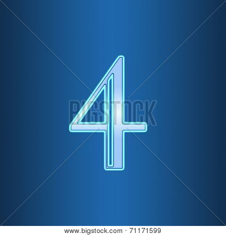 Glowing Neon Number On Blue Background. Letter 4 Four