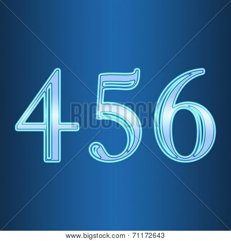 Glowing Neon Number On Blue Background. Letter 4 5 6 Four, Five, Six
