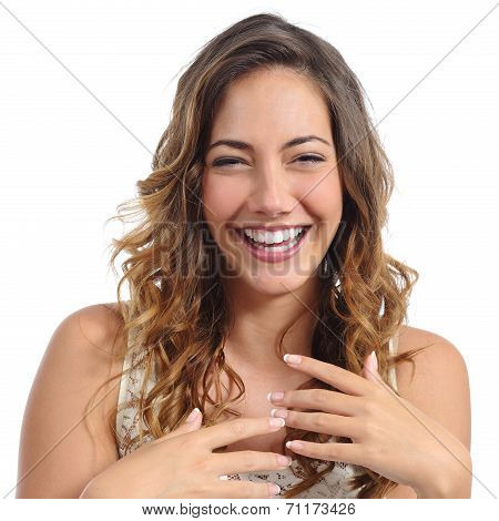 Front Portrait Of A Funny Fashion Woman Laughing Hilarious