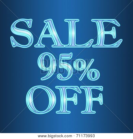 Sale 95 Ninety Five Percent Off Neon Isolated On Blue Background
