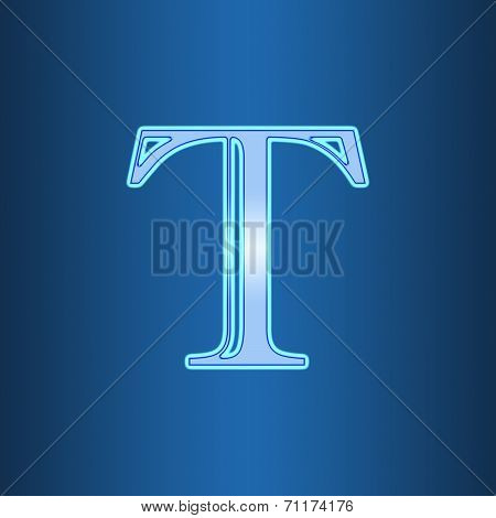 Neon Sign With The Letter T Isolated On Blue Background