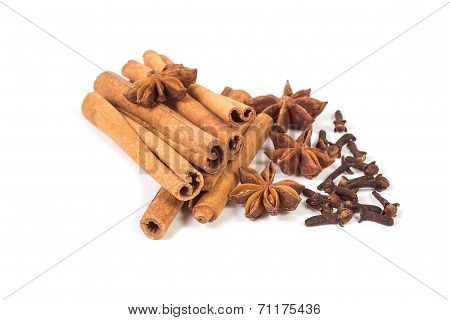 Cinnamon Sticks With Anise Stars And Dry Cloves