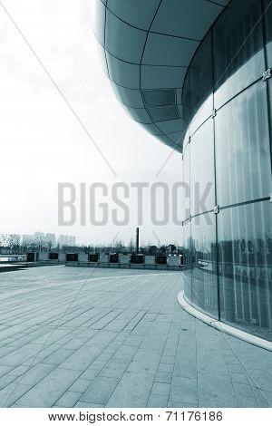 Facade Of Modern Business Center With Glass Doors