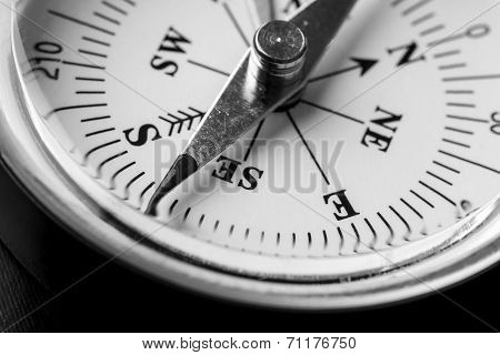 Greyscale Image Of A Magnetic Compass