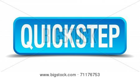 Quickstep Blue 3D Realistic Square Isolated Button