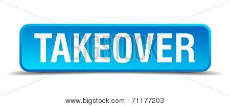 Takeover Blue 3D Realistic Square Isolated Button