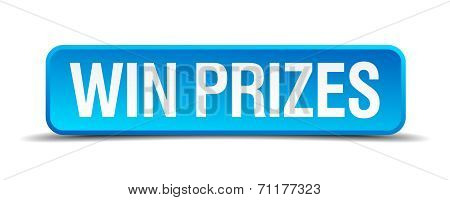 Win Prizes Blue 3D Realistic Square Isolated Button