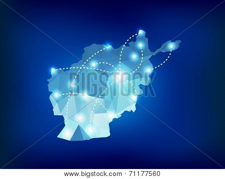 Afghanistan Country Map Polygonal With Spot Lights Places